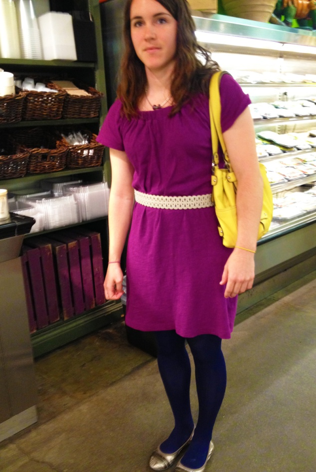 A summer dress + navy tights, light belt, bright purse, metallic flats. A workday fall transition win!